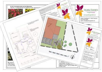 Trädgårdsdesign av ombonat odlingshörn