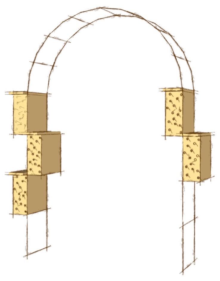 Rosenbåge kombinerad med insektshotell. Idéskiss