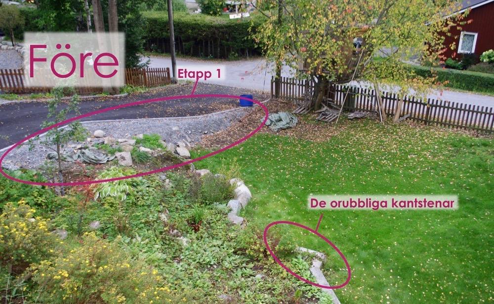 Före - här syns området för etapp 1 och hur stenarna såg ut från början.